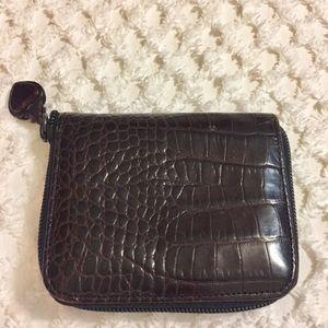 Brighton Bags - BRIGHTON Dark Brown Reptile Silver Detail Wallet